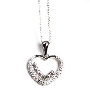 925 Sterling Silver Clear Cubic Zirconia Open Heart Pendant Necklace
