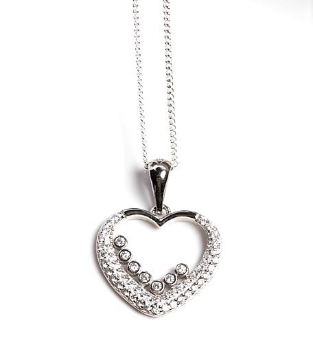 Callel 925 Sterling Silver Clear CZ Open Heart Pendant Necklace