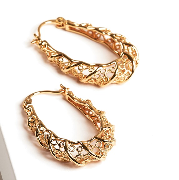 Callel Copper Gold Plated thick patterned creole hoop earrings