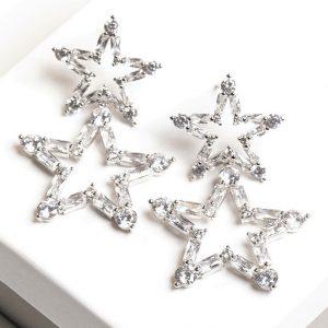 Silver Star Shaped Synthetic Cubic Zirconia Drop Stud Earrings