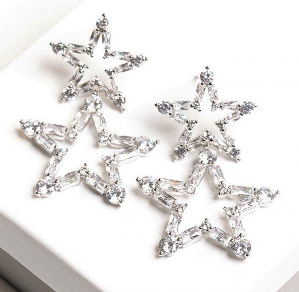 Callel Silver Star Shaped Cubic Zirconia Drop Stud Earrings