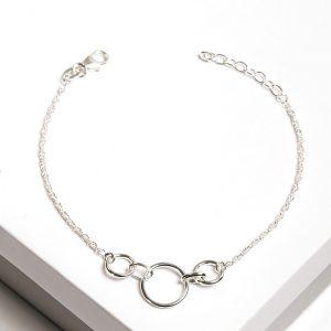 925 Sterling Silver Circles Chain Bracelet