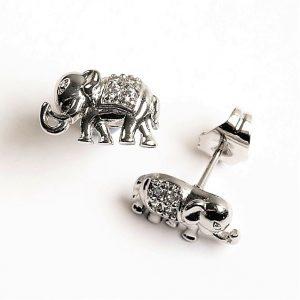 Silver Elephant Synthetic Cubic Zirconia Crystal Stud Earrings