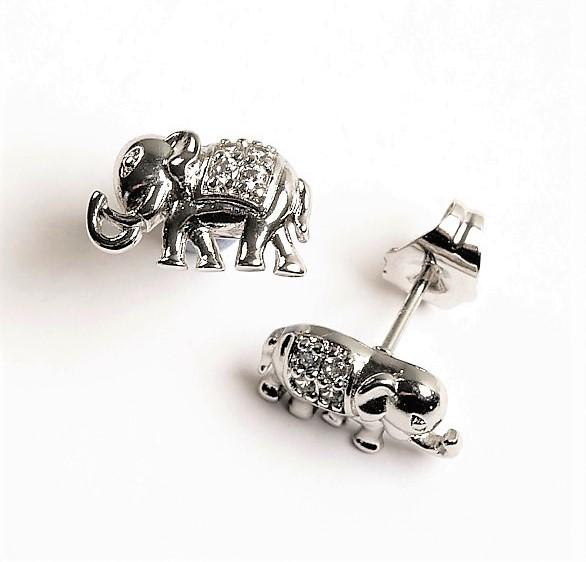 Callel Silver Elephant Synthetic Cubic Zirconia Crystal Stud Earrings