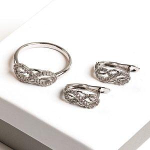 Silver Cubic Zirconia Infinity Earrings & Ring Jewellery Set