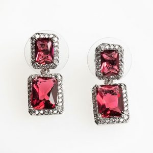 Silver Square Red Cubic Zirconia Drop Stud Earrings