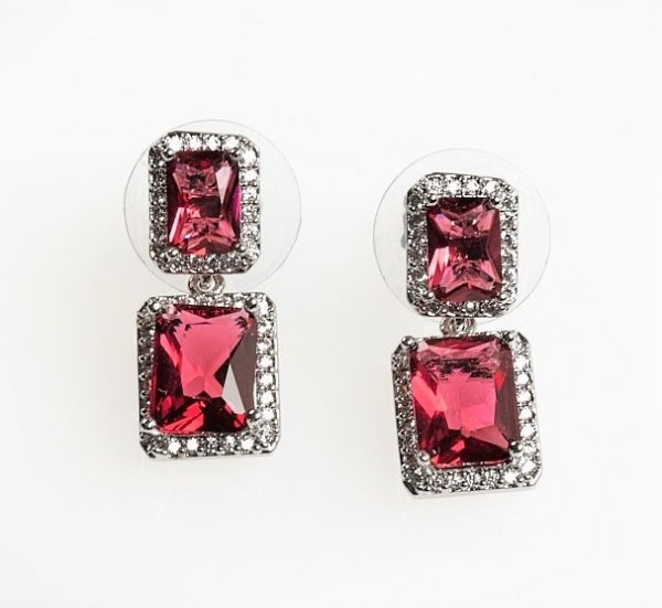 callel Silver Square Red Cubic Zirconia Drop Stud Earrings