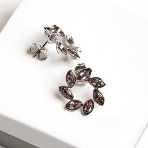 Silver Flower Shaped Stud Earrings Embellished With Pink Crystal From Swarovski