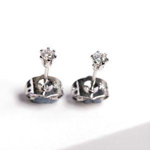 Silver 3mm Cubic Zirconia Crystal Stud Earrings