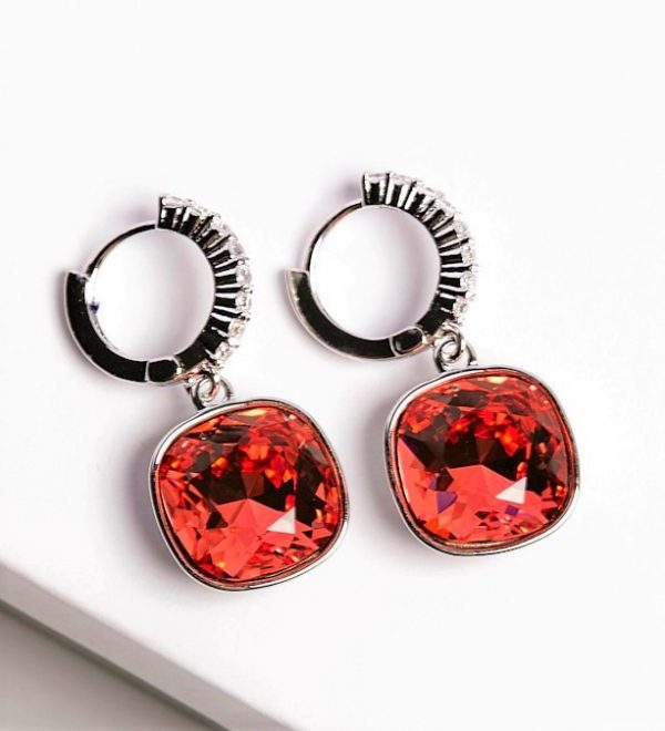 Callel Huggie Earrings Embellished with Red Crystal from Swarovski