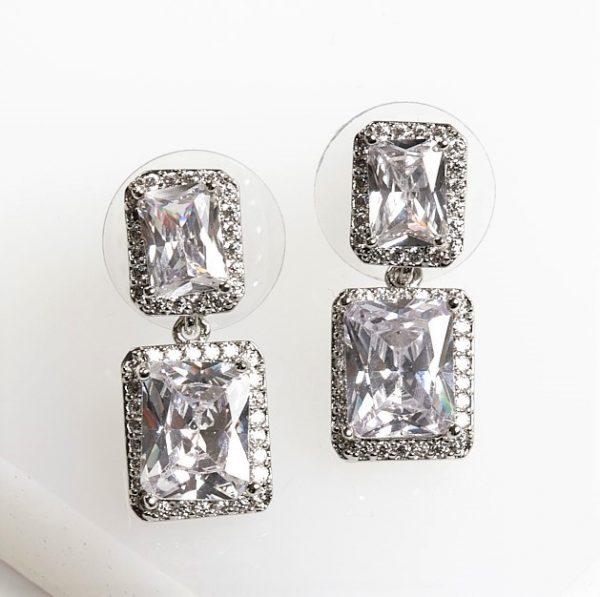 Callel Silver Square White Cubic Zirconia Drop Stud Earrings