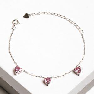 925 Sterling Silver Rose Cubic Zirconia Heart Charm Bracelet