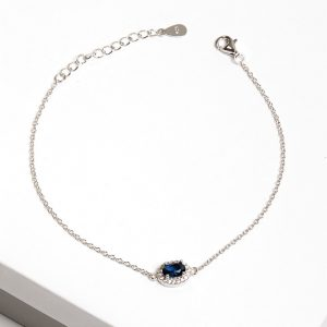 925 Sterling Silver Clear & Sapphire Cubic Zirconia Bracelet