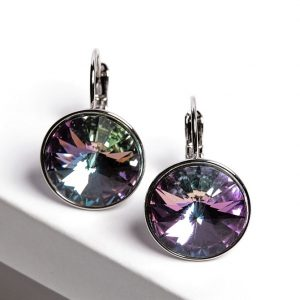 Silver Huggie Earrings Embellished With Lilac Crystal From Swarovski