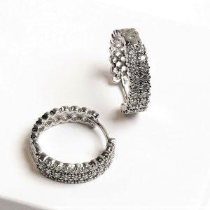Silver Cubic Zirconia Huggie Hoop Earrings