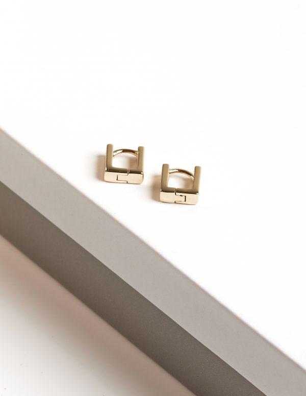 Callel Huggie 14k Gold Color Square Hoop Earrings