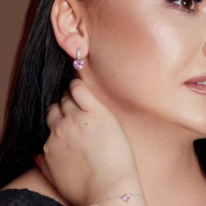 Pink Cubic Zirconia Crystal Heart Shape Huggie Hoop Earrings In Silver