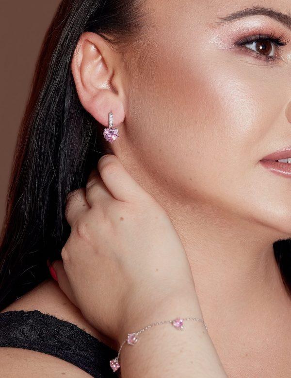 Callel Crystal Heart Shape Huggie Hoop Earrings