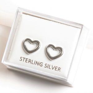 925 Sterling Silver Open Heart Stud Earrings