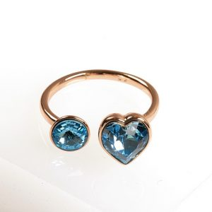 Open Heart Ring Embellished With Aquamarine Crystal From Swarovski