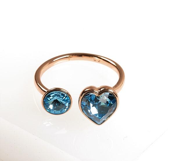 Callel 18K Ring Embellished with Aquamarine Crystal from Swarovski