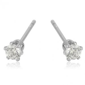 Silver Cubic Zirconia Crystal Stud Earrings