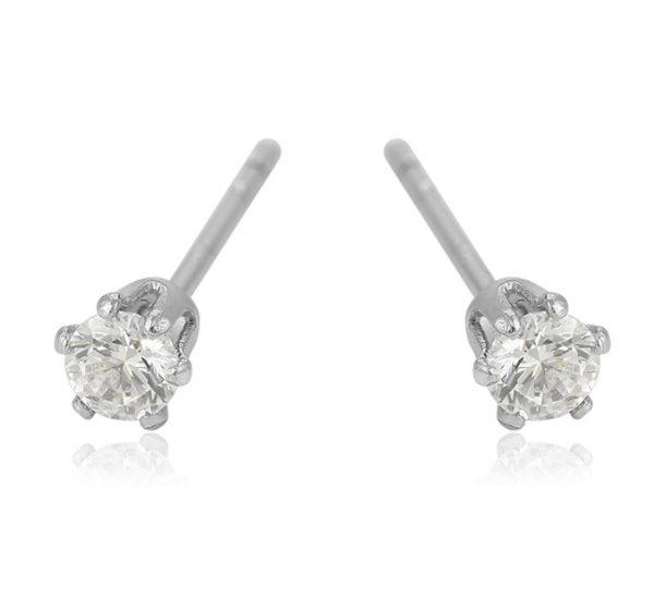 Callel Silver Cz Crystal Stud Earrings