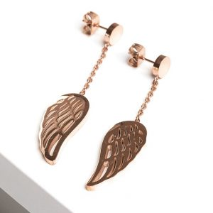 Angel Wing Rose Gold Drop Earrings
