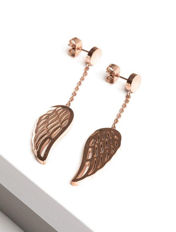 Callel Angel Wing Rose Gold Drop Earrings
