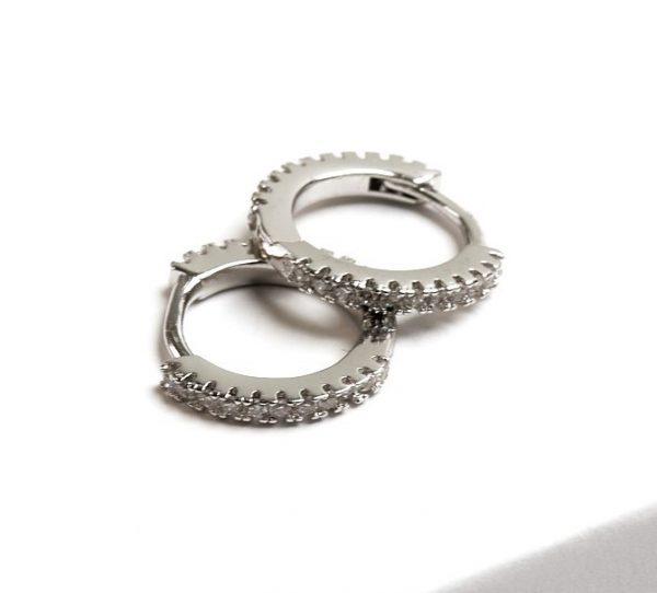 Callel Silver CZ Huggie Hoop Earrings