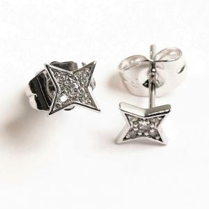 Four Point Star Cubic Zirconia Stud Earrings