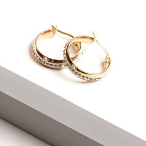 24K Gold Stainless Steel Cubic Zirconia Creole Hoop Earrings