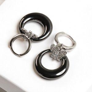 Silver & Black Butterfly Cubic Zirconia Dangle Earrings