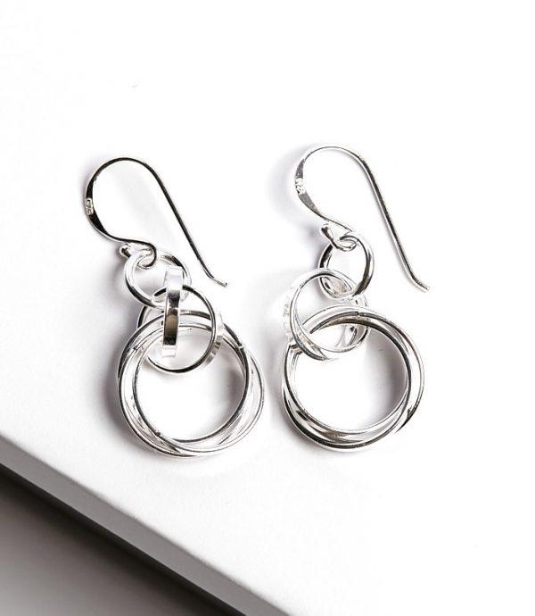 Callel Sterling Silver Circle Hook Drop Errings