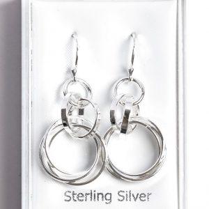 925 Sterling Silver Circle Long Hook Earrings