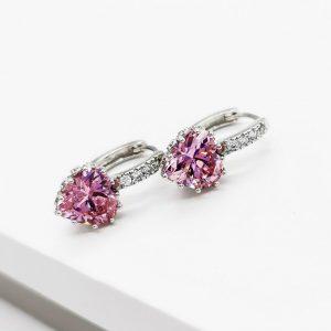 Pink Cubic Zirconia Crystal Heart Shape Huggie Hoop Earrings