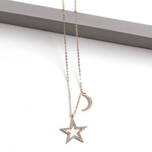 14k Gold Moon & Star Necklace