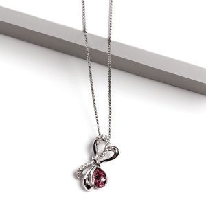 Bow Pendant Necklace Embellished With Rose Color Crystal From Swarovski