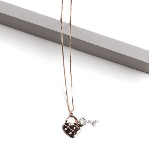 Rose Gold Heart Lock & Key Pendant Necklace