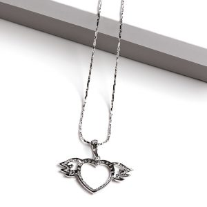 Cubic Zirconia Angel Wings Heart Pendant Necklace
