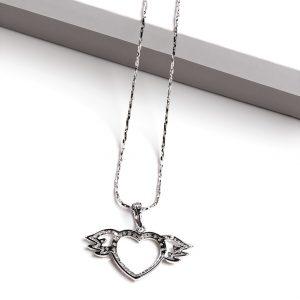 Cubic Zirconia Angel Wings Heart Pendant Necklace