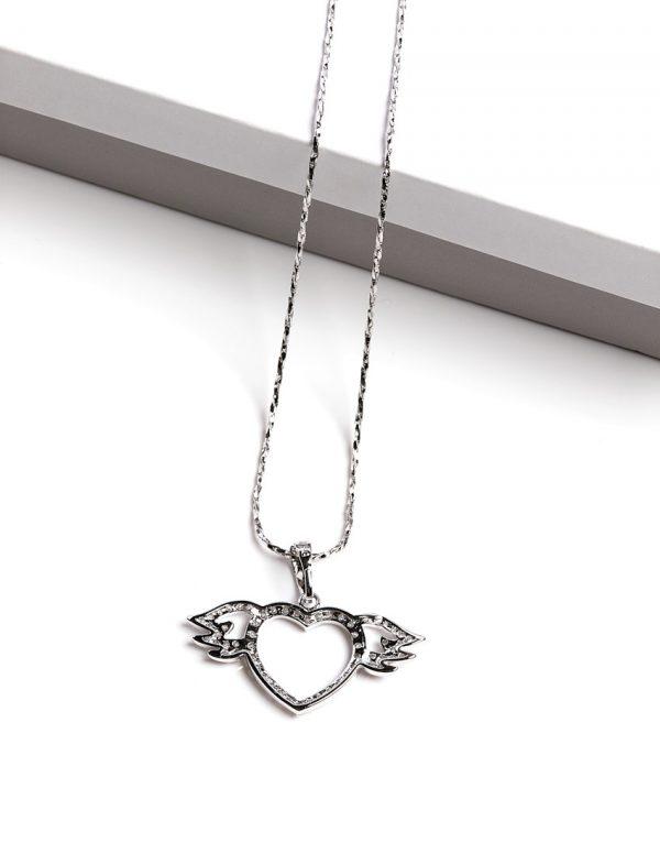 Callel Angel Wings Heart Pendant Necklace
