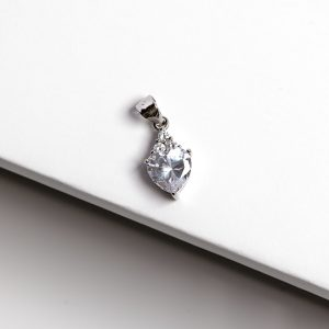 Callel 925 Sterling Silver Heart Clear CZ Heart Pendant