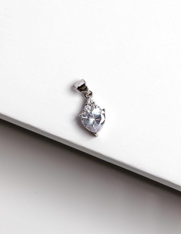 Callel 925 Sterling Silver Heart Clear CZ Heart Pendant