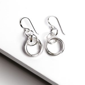 925 Sterling Silver Circle Long Hook Earrings