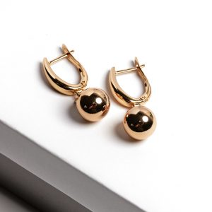 24k Gold Highly Polished Ball Drop Earrings