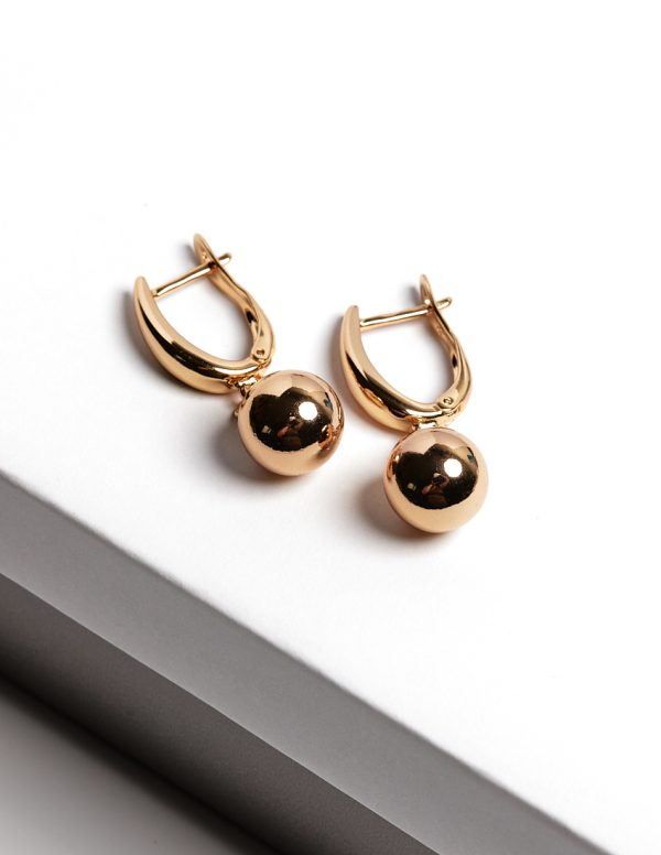 Callel 24k Gold Color Highly Polished Ball Drop Earrings