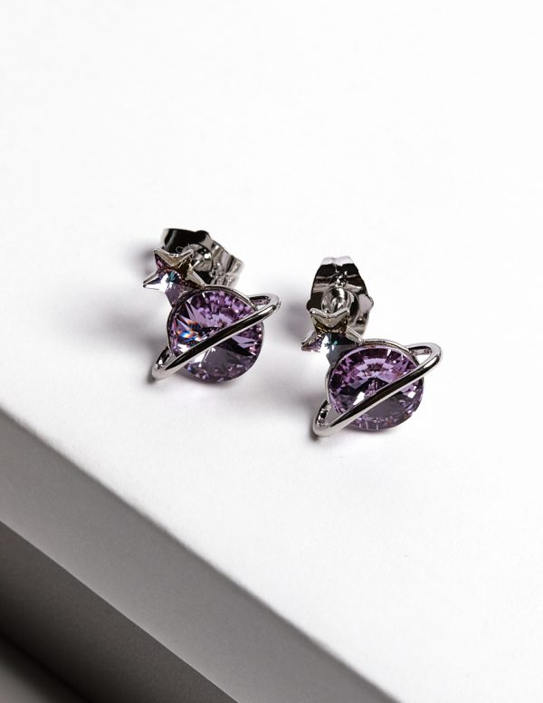 Callel Planet Stud Earrings Embellished with Purple Crystal from Swarovski