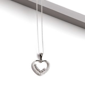 Callel 925 Sterling Silver Clear CZ Open Heart Pendant Necklace