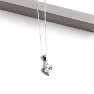 925 Sterling Silver Clear Cubic Zirconia Heart Pendant Necklace